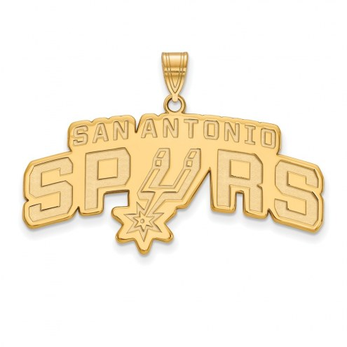 San Antonio Spurs Sterling Silver Gold Plated Extra Large Pendant
