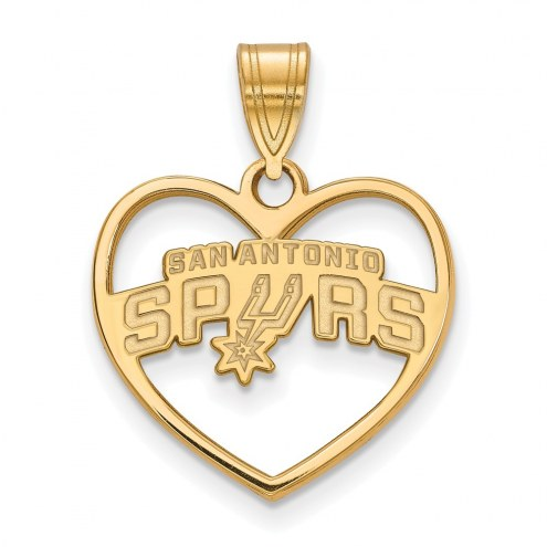 San Antonio Spurs Sterling Silver Gold Plated Heart Pendant