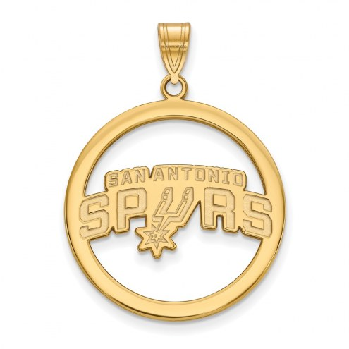 San Antonio Spurs Sterling Silver Gold Plated Large Circle Pendant