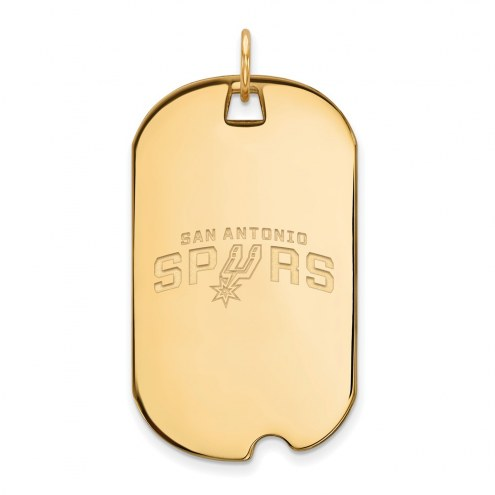 San Antonio Spurs Sterling Silver Gold Plated Large Dog Tag