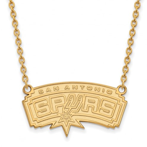 San Antonio Spurs Sterling Silver Gold Plated Large Pendant Necklace