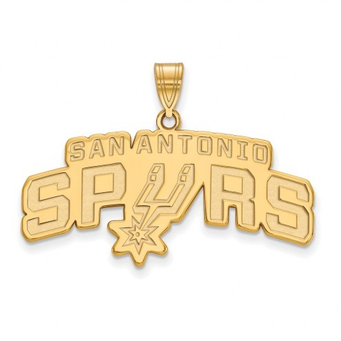 San Antonio Spurs Sterling Silver Gold Plated Large Pendant