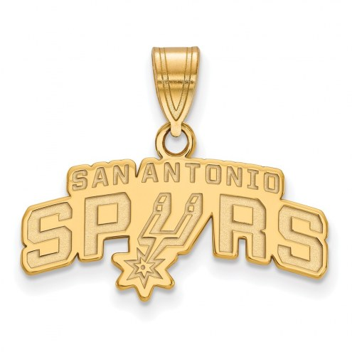 San Antonio Spurs Sterling Silver Gold Plated Medium Pendant