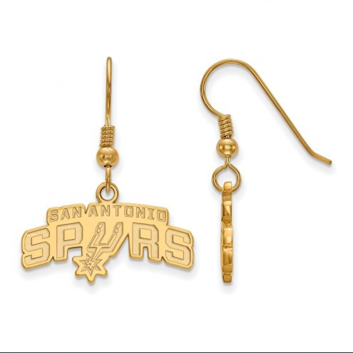 San Antonio Spurs Sterling Silver Gold Plated Small Dangle Earrings