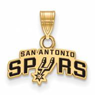 San Antonio Spurs Sterling Silver Gold Plated Small Enameled Pendant