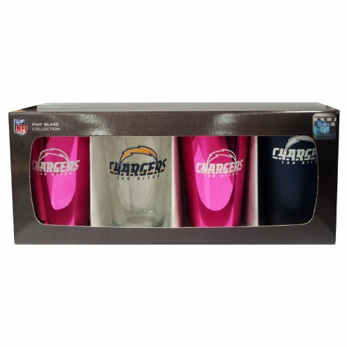 Los Angeles Chargers 4 Pack Pint Glass Set
