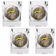 San Diego Chargers Open Field 4-Piece RealTree Square Shot Glass Set