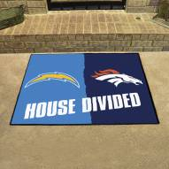Los Angeles Chargers/Denver Broncos House Divided Mat