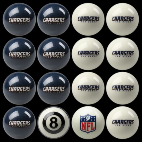 Los Angeles Chargers NFL Home vs. Away Pool Ball Set