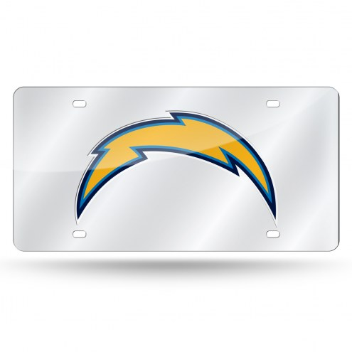 Los Angeles Chargers NFL Silver Laser License Plate