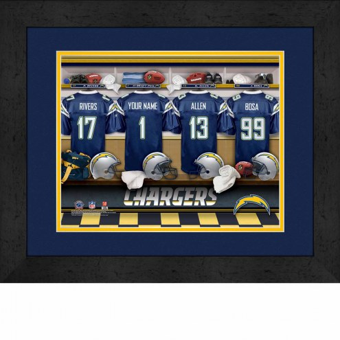 Los Angeles Chargers Personalized Locker Room 13 x 16 Framed Photograph
