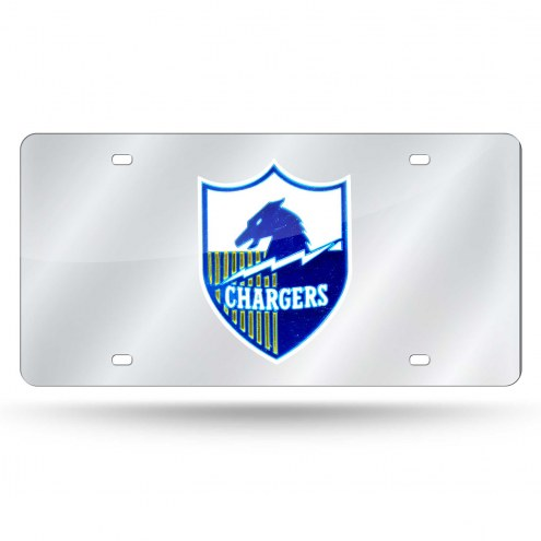 Los Angeles Chargers Retro Silver Laser License Plate