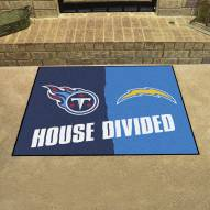 Los Angeles Chargers/Tennessee Titans House Divided Mat