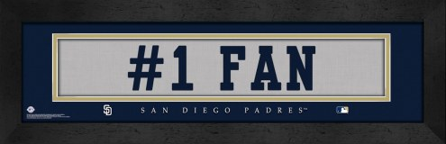 """San Diego Padres """"#1 Fan"""" Stitched Jersey Framed Print"""
