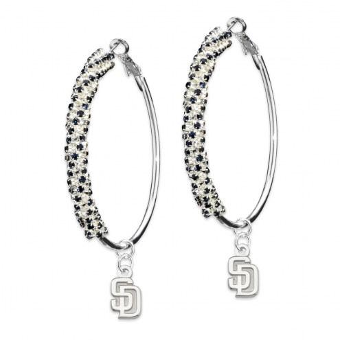 San Diego Padres Amped Logo Crystal Earrings