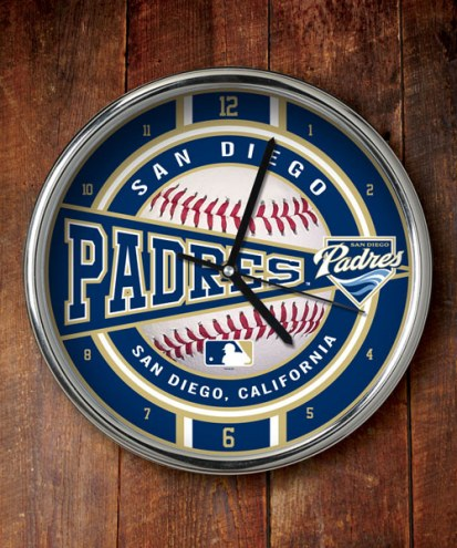 San Diego Padres Chrome Wall Clock