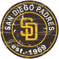 San Diego Padres Distressed Round Sign