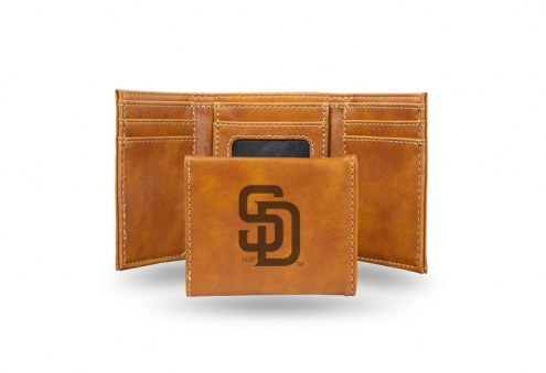 San Diego Padres Laser Engraved Brown Trifold Wallet