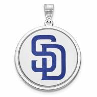 San Diego Padres Sterling Silver Disc Pendant