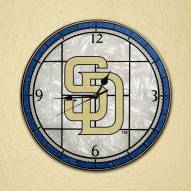 San Diego Padres MLB Stained Glass Wall Clock