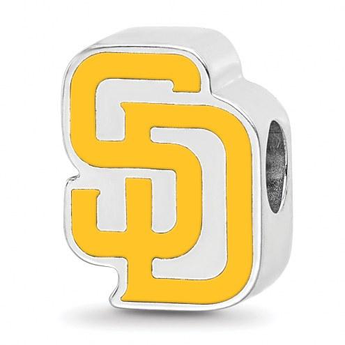 San Diego Padres Sterling Silver Enameled Bead