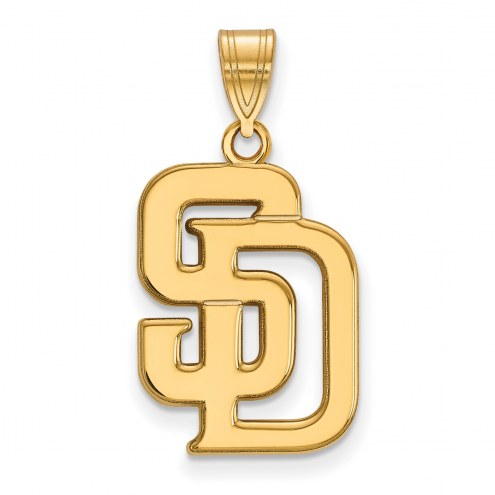 San Diego Padres Sterling Silver Gold Plated Large Pendant