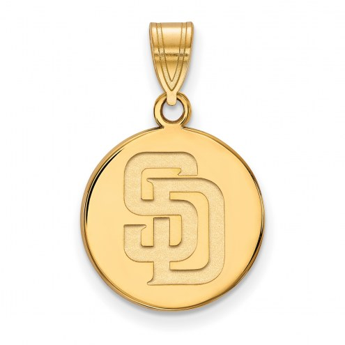 San Diego Padres Sterling Silver Gold Plated Medium Disc Pendant