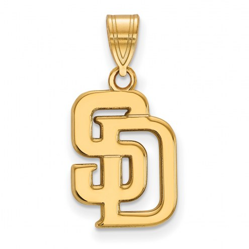 San Diego Padres Sterling Silver Gold Plated Medium Pendant