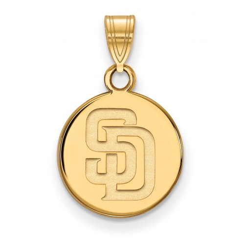 San Diego Padres Sterling Silver Gold Plated Small Disc Pendant