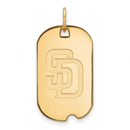 San Diego Padres Sterling Silver Gold Plated Small Dog Tag