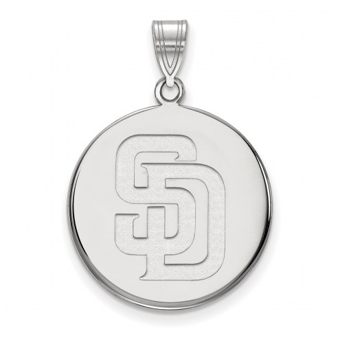 San Diego Padres Sterling Silver Large Disc Pendant