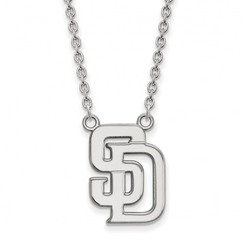 San Diego Padres Sterling Silver Large Pendant Necklace