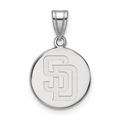 San Diego Padres Sterling Silver Medium Disc Pendant