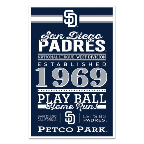 San Diego Padres Established Wood Sign