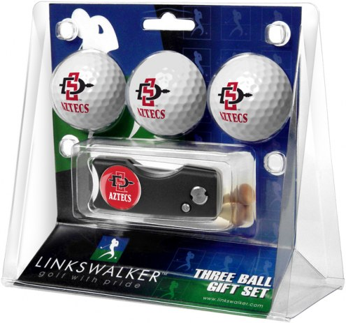 San Diego State Aztecs Golf Ball Gift Pack with Spring Action Divot Tool