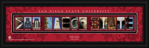 San Diego State Aztecs Personalized Campus Letter Art