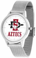 San Diego State Aztecs Silver Mesh Statement Watch