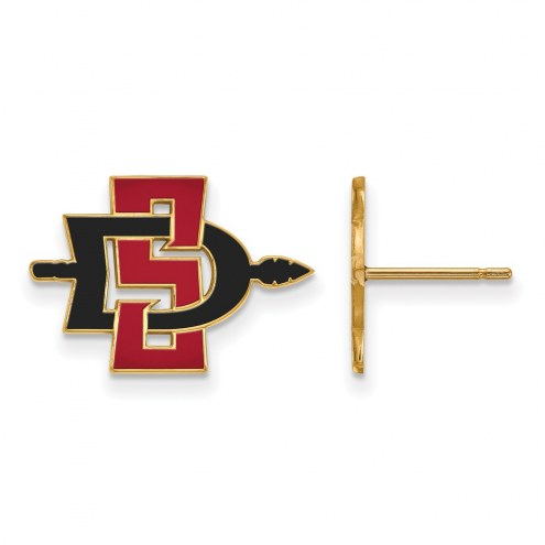 San Diego State Aztecs Sterling Silver Gold Plated Small Post Earrings
