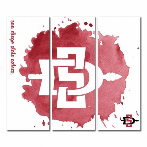 San Diego State Aztecs Triptych Watercolor Canvas Wall Art