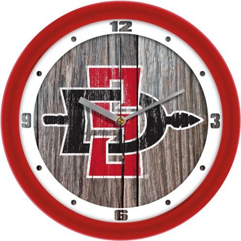 San Diego State Aztecs Weathered Wood Wall Clock