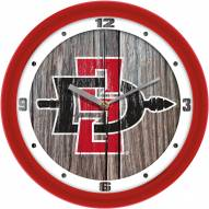 San Diego State Aztecs Weathered Wood Wall Clock