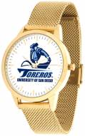 San Diego Toreros Gold Mesh Statement Watch