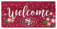 "San Francisco 49ers 6"" x 12"" Floral Welcome Sign"