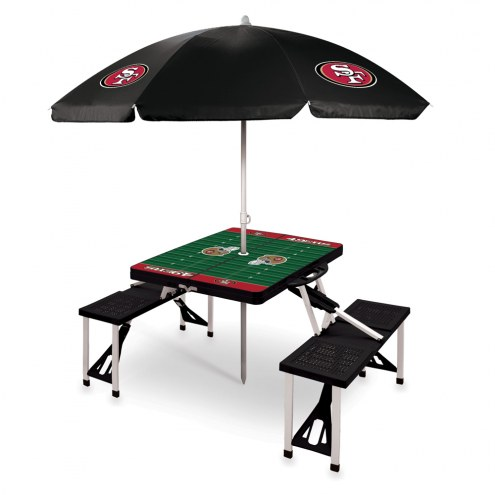 San Francisco 49ers Black Picnic Table w/Umbrella