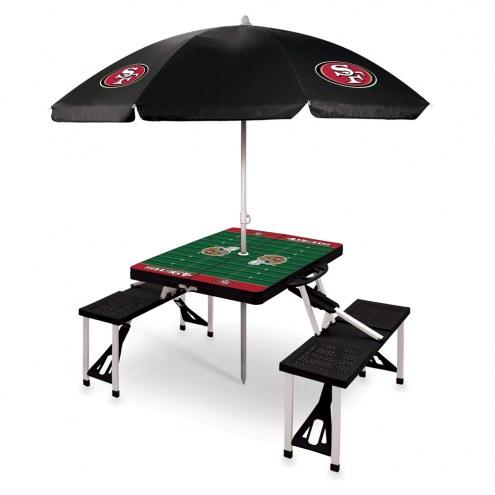 San Francisco 49ers Black Picnic Table w/Umbrella