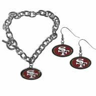 San Francisco 49ers Chain Bracelet & Dangle Earring Set