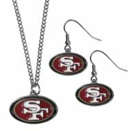 San Francisco 49ers Dangle Earrings & Chain Necklace Set