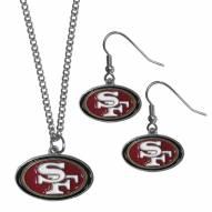 San Francisco 49ers Dangle Earrings & Chain Necklace Set