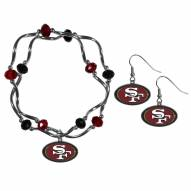 San Francisco 49ers Dangle Earrings & Crystal Bead Bracelet Set