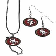 San Francisco 49ers Dangle Earrings & State Necklace Set